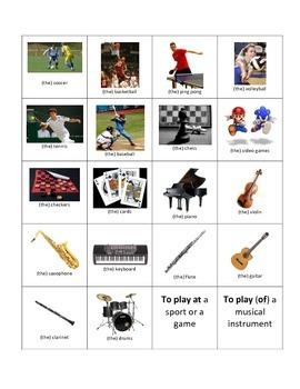 French Jouer à / de; sports, games, instruments, chez moi Flash Cards
