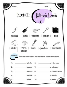 French Kitchen Items Worksheet Packet