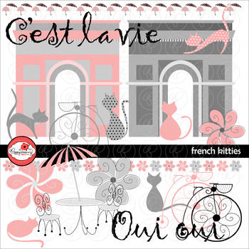 French Kitties Clipart by Poppydreamz