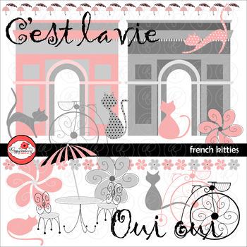 French Kitties Clipart by Poppydreamz