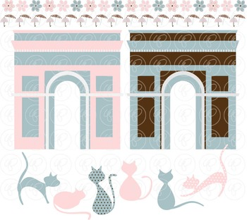 French Kitties Nursery Clipart by Poppydreamz