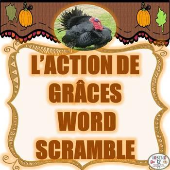 French L' Action De Grâce Word Scramble
