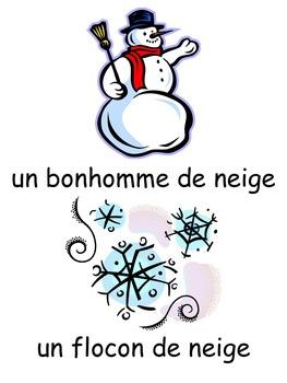 French: L'hiver, Cartes éclairs & activités, Core & French Immersion