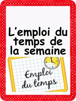 """French: """"L'horaire de la semaine"""", Etiquettes, French"""