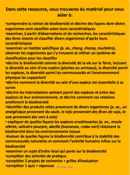 "French: ""La Biodiversité"", Sciences, Grade 6"
