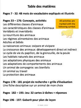"""French: """"La croissance des animaux"""", Cartes éclairs et activités, French"""