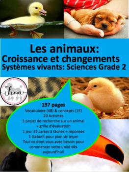 """French: """"La croissance des animaux"""", Cartes éclairs et act"""