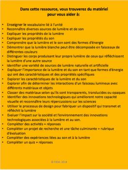 French: La lumière et les sons, Sciences, Gr.4, 114  slides