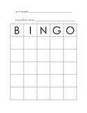 French Language Bingo Card
