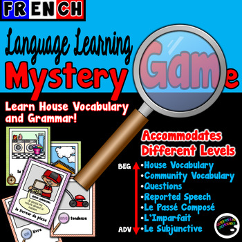 French Language Learning Mystery Game—Grammar & Parts of the Home Vocabulary