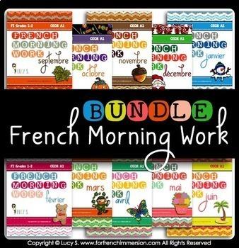 French Morning Work Worksheet BUNDLE | Petit travail du matin (French bell work)