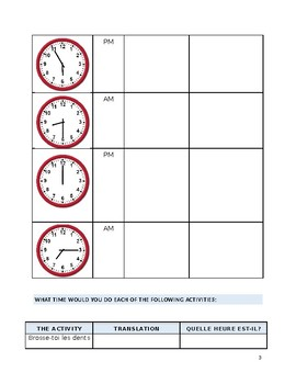 French Language Practicing Telling Time
