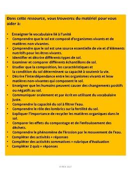 """French: """"Le sol dans l'environnement"""", Sciences, Grade 3, 107 slides"""