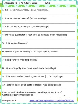 French - Les Masques - oral activity