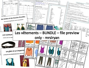 French – Les Vêtements (Clothing) BUNDLE