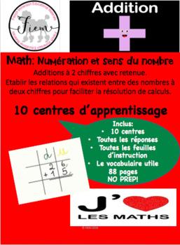 French: Les additions à 2 chiffres avec retenue: 10 centres+corrigé, 86 pp