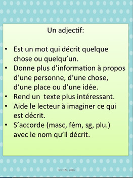 """French: """"Les adjectifs: Phrases élastiques"""", Parts of speech, Immersion"""