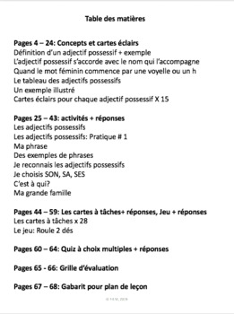 French: Les adjectifs possessifs, 68 pages