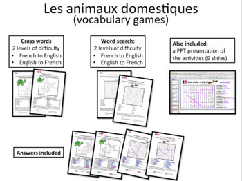 French- Les animaux (domestiques)- word search and crosswords