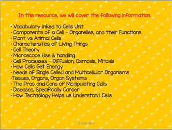"""French: """"Les cellules"""", Sciences, Vocabulaire et Concepts"""