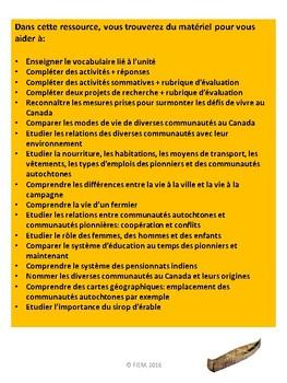 "French: ""Les communautés du Canada, 1780-1850"", Grade 3, UPDATED 113 slides"