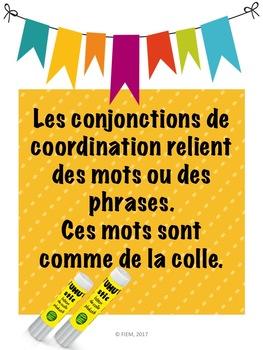 French: Les conjonctions: Activités, posters, cartes éclairs