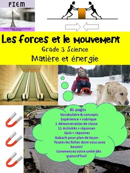 "French: ""Les forces et le mouvement"", Sciences, Grade 3, 81 slides"