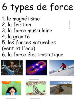 """French: """"Les forces et mouvements"""", Cartes éclairs/expériences, Science"""