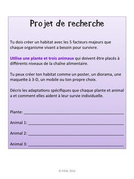 """French: """"Les habitats et communautés: les systèmes vivants"""", Sciences, Grade 4"""