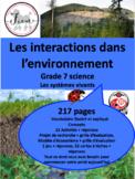 """French: """"Les interactions dans l'environnement"""", Sciences,"""