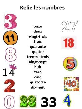 """French: """"Les nombres cardinaux (1-50) ordinaux (1-31), Etiquettes & activités"""