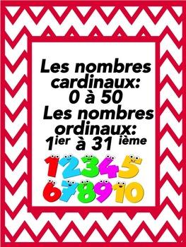 """French: """"Les nombres cardinaux (1-50) ordinaux (1-31), Eti"""