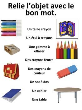 """French: """"Les objets de classe"""", Cartes éclairs & activités, Core & Immersion"""