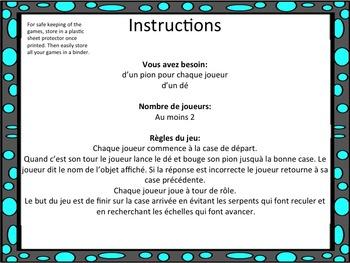 """French: """"Les objets de classe: Serpents et échelles"""", Game, Core & Immersion"""