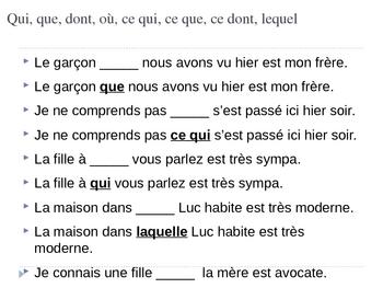 French - Les pronoms relatifs exercices - Relative pronoun practice