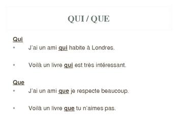 French - Les pronoms relatifs - relative pronouns