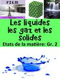French: Les solides, liquides, gaz: La matière, Etiquettes & activités, Science