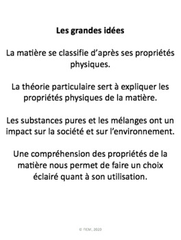 """French: """"Les substances pures et les mélanges"""", Sciences, Grade 7, 86  slides"""