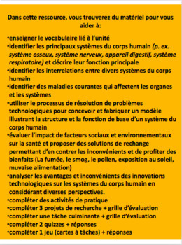"""French: """"Les systèmes du corps humain"""", Grade 5, 84 slides, UPDATED"""