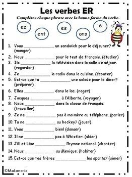 French: Les verbes ER  #1 / Beginning ER verbs