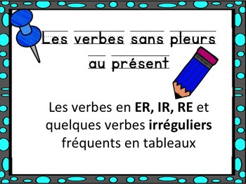 French: Les verbes en er, ir, re, Cartes éclairs, Core French & French Immersion