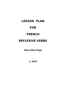French Lesson Plan for Reflexive Verbs