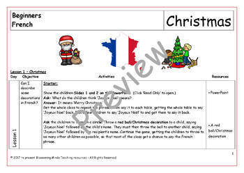 French Lesson and Resources - Christmas - Noël