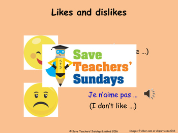 French Likes & dislikes (sports) Lesson plan, PowerPoint (with audio) & More ..