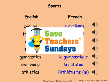 French Likes & dislikes (sports) Lesson plan, PowerPoint (
