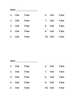 French Listening Assessment Sheet - Vrai/Faux