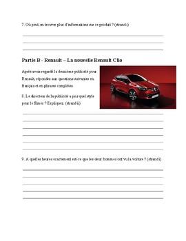 French Listening Comprehension - La publicité - La voiture Renault