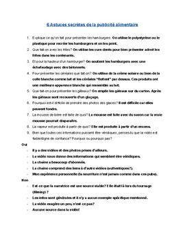 French Listening Comprehension - La publicité alimentaire  - Video and questions