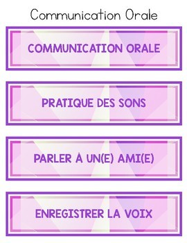 French Literacy Centre Labels - Purple Geometric