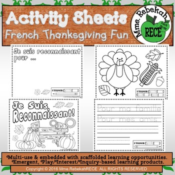 French Literacy Thanksgiving Theme Printables Activity